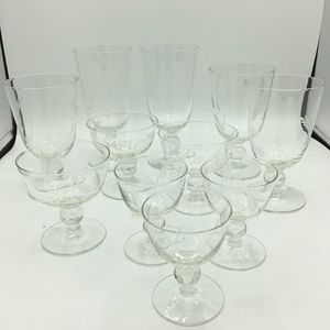 Set Of 11 Etched Glasses Assorted Sizes